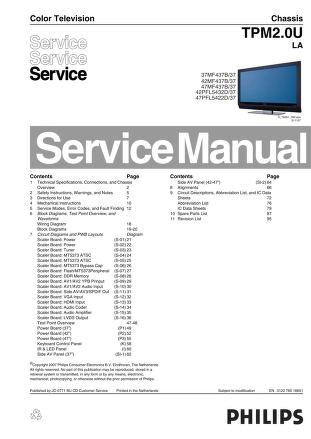 Service Manual: Philips Magnavox Chassis TPM2.0U 37MF437B 42MF437B 47MF437B  42PFL5432D 47PFL5422D may also suit 37MF438B 42MF438B 47MF438B : Free  Download, Borrow, and Streaming : Internet Archive
